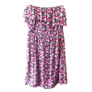 BOGO! Floral Mini Ruffle Tube Dress